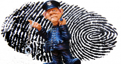 picture of clay policeman in front of a fingerprint