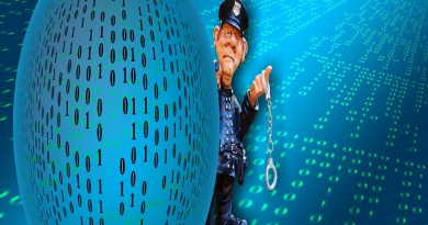 image of policemand with handcuffs against computer code background