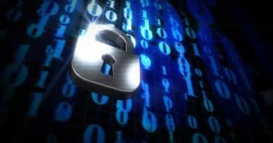 Image of padlock against computer code