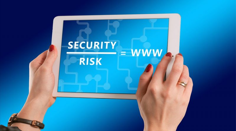Tablet showing security over risk equals www equation