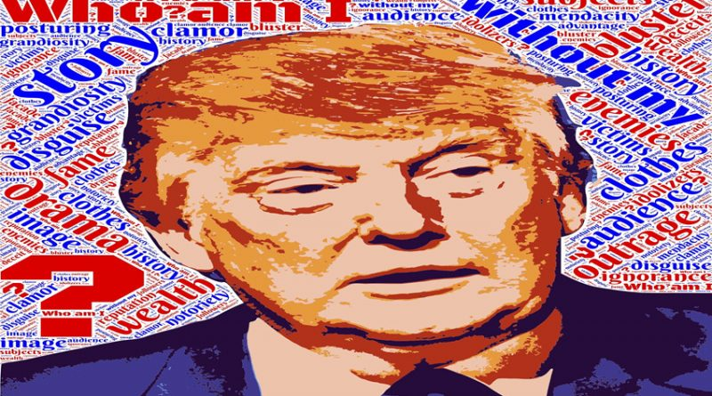 Image of Donald Trump against background of words about him