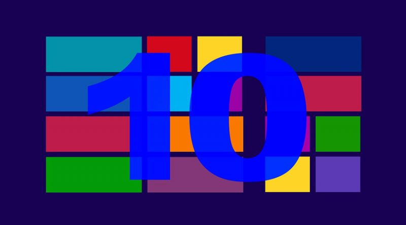 Number 10 superimposed upon Windows colour blocks