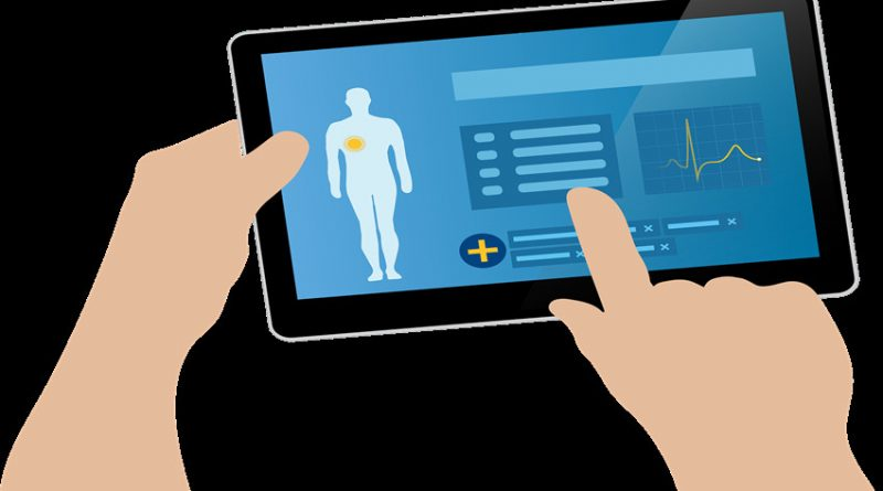 Picture of a health app running on a tablet