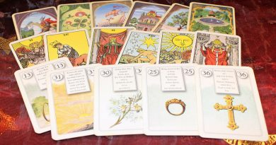 Set of tarot cards laid out