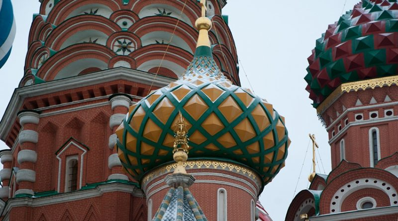 Close up of domes in Red Square, Moscow