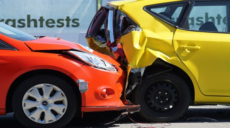 Photo of front end collision, crash test of cars