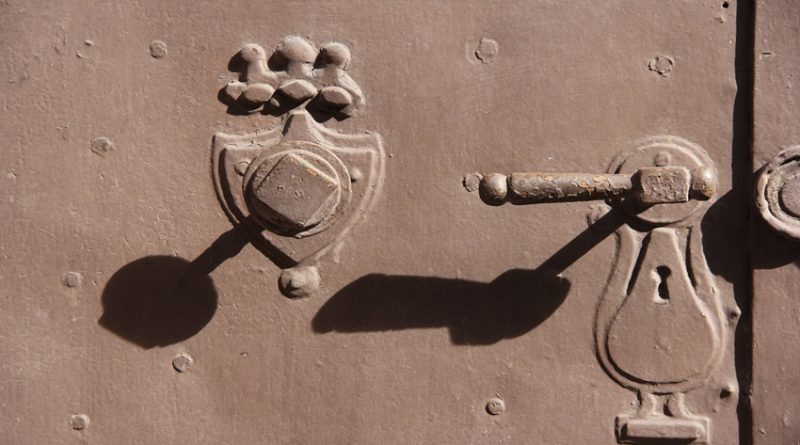 photo showing lock and door handle with shadows cast