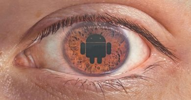 photo of an eye with Android logo overlayed