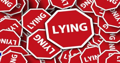 Picture of multiple road signs all with the word 'lying' on
