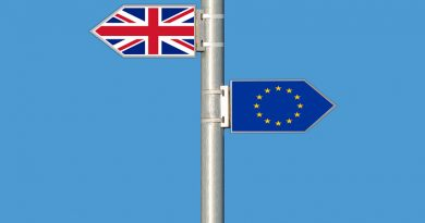 Flagpole with UK and EU flags flying in opposite directions