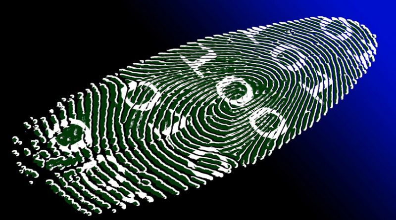fingerprint with binary code superimposed
