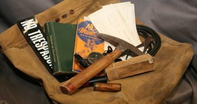 Mining tools and a book saying no trespassing