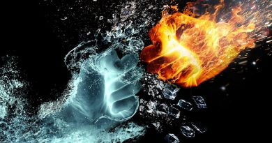 ice and fire 'hands' colliding