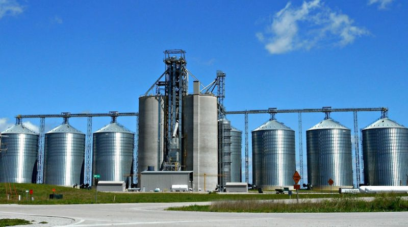 A photo of grain silos