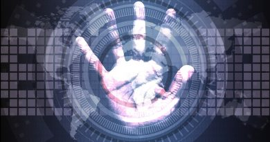 out-stretched palm set against background of binary code