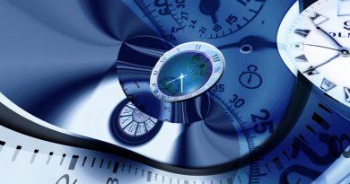 clockfaces in a time travel dreamscape