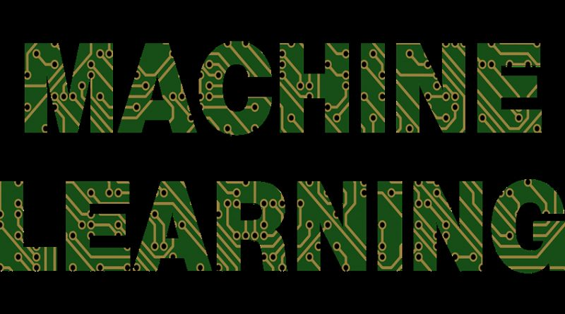 The words 'machine learning' with an etched PCB font