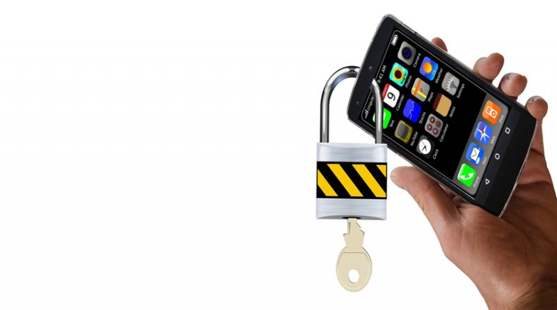 Smartphone with a padlock through it