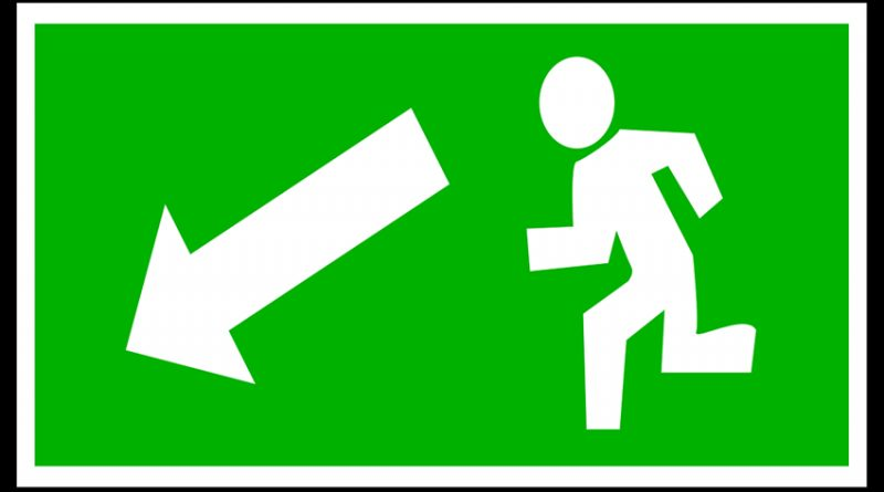 emergency exit to left signage