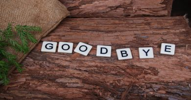 the word goodbye in scrabble tiles