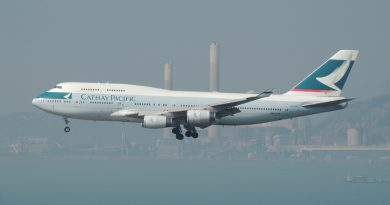 Cathay Pacific plane leaving Hong Kong