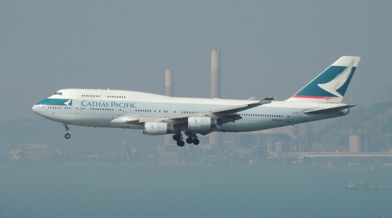 Cathay Pacific plane leaving Hong Kong