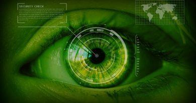 Close up of eyeball as a security radar screen