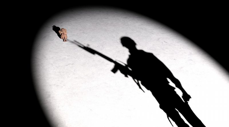 silhouette of soldier pointing gun at frightened model of a woman
