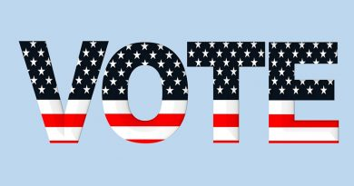 The word vote with a US flag font