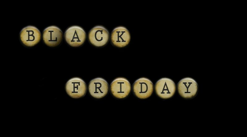 The words BLACK FRIDAY spelled out on typewriter keys