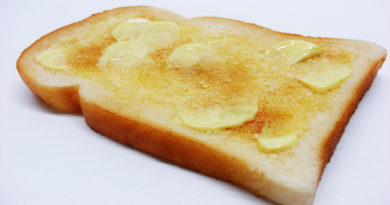 Butter melting on a slice of toast