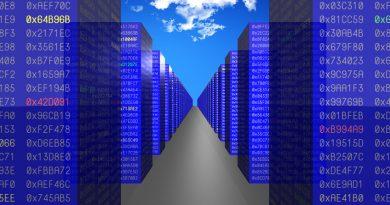 binary building blocks set against a cloud backdrop