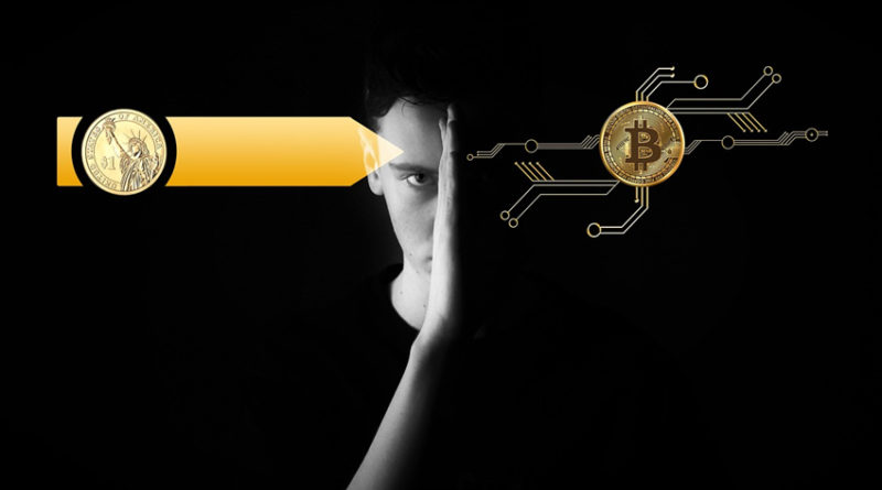 Man with bitcoin graphic