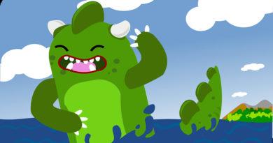 A cartoon godzilla-like monster