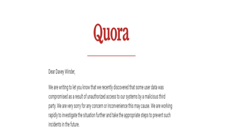 Quora breach notification