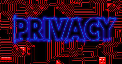 The word 'privacy' against a motherboard background
