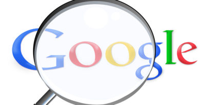 Magnifying glass over the word Google