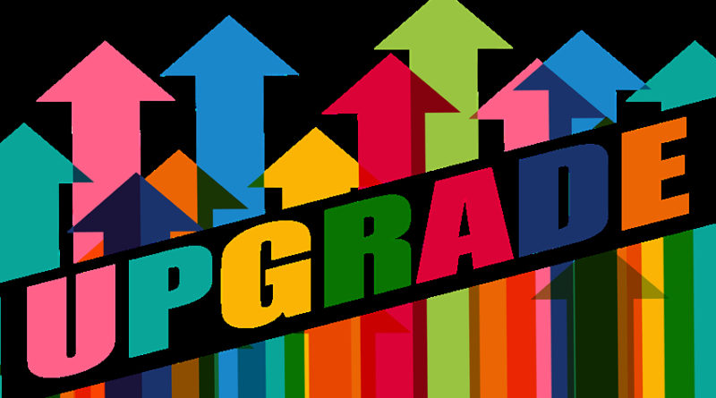 Arrows emerging from the word 'upgrade'
