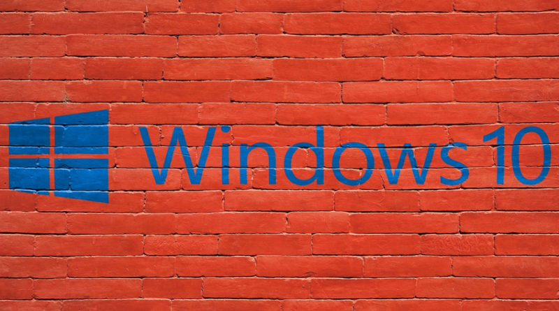 Windows 10 logo on brick wall