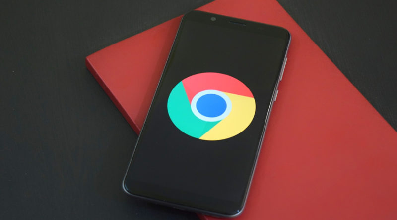 Smartphone displaying Google Chrome logo