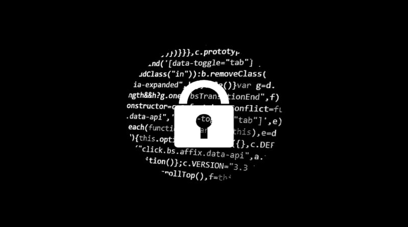 Locked padlock set against background of code