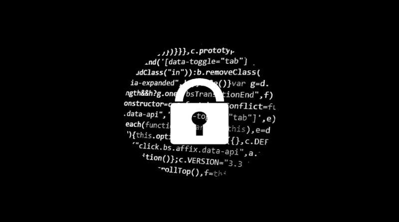 Locked padlock set against background of code
