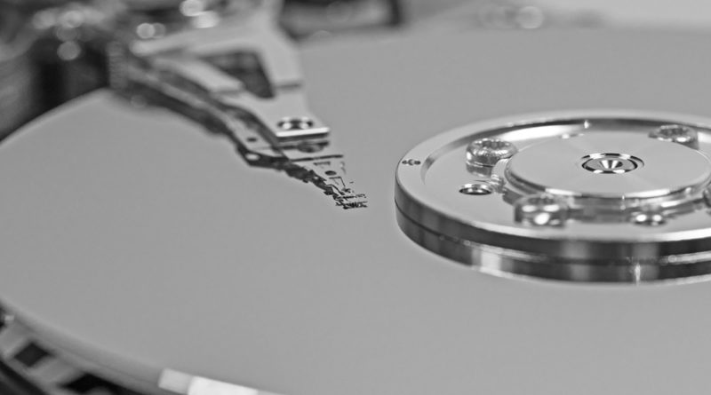 close up of hard drive internals