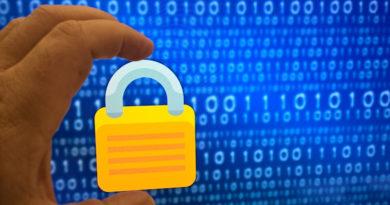 Padlock against background of binary code