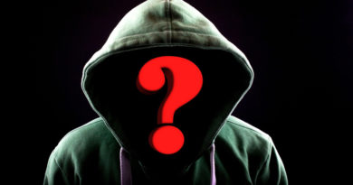 Hooded man with a question mark where his face should be