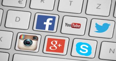 keyboard with social media logos as keys